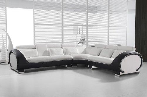 SAM® Ecksofa Vigo Combi 4 286,5 x 254,5 cm Weiß Weiß Schwarz links ...