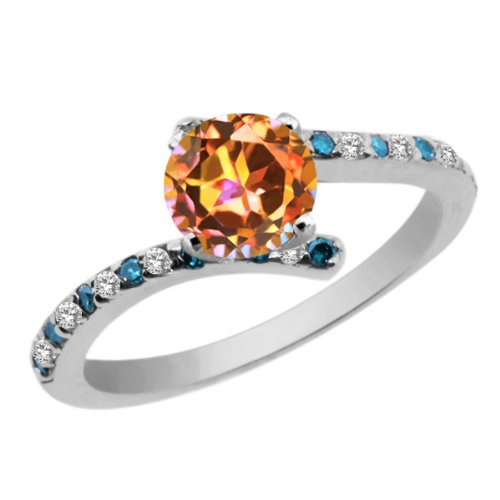 Gem Stone King 1.26 Ct Round Ecstasy Mystic Topaz White Topaz 925 Sterling Silver Engagement Ring (Size 8) ()