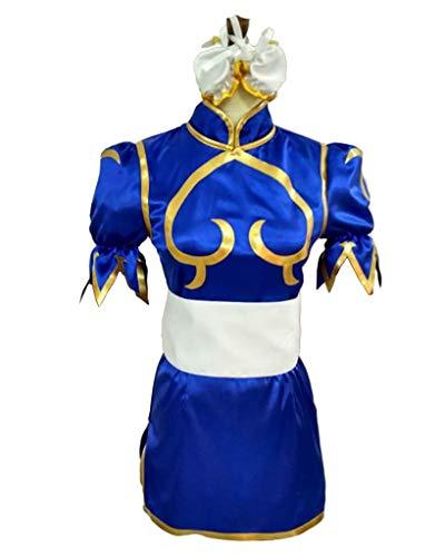 CLLMKL Women's Street Fighter Chun Li Cosplay Costume Dark Blue Dress