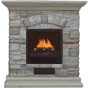 Electric Fireplace with Mantel and Multicolor Stone Facade