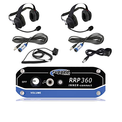 Rugged Radios RRP360 Intercom 2 Place Kit with Behind the Head Headsets, Push to Talk Cables and Intercom Cables (Buggies Race Off Road)