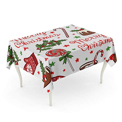 Tarolo Rectangle Tablecloth 60 x 90 Inch Christmas and New Year Peppermint Lollipops Hot Chocolate Traditional Pudding Knitted Mittens Holly Red Green Stars Lettering Table Cloth