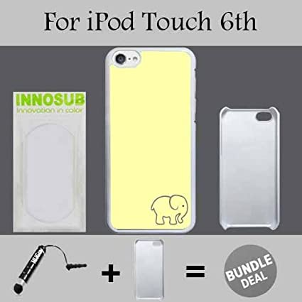 Kawaii Cute Elephant Yellow Custom iPod 6/6th Generation Cases-Black-Plastic, Bundle 2in1 Comes Custom Case/Universal Stylus Pen innosub