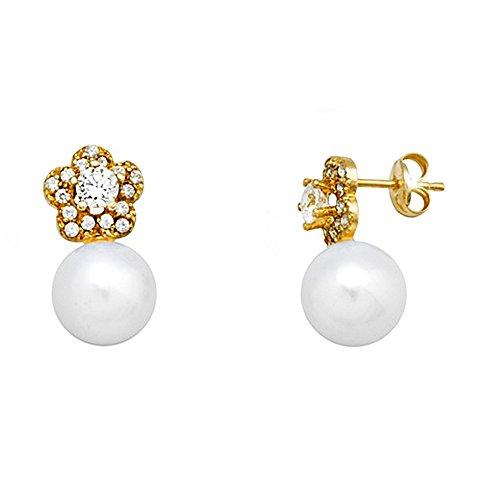 Boucled'oreille 18k or 8.5mm perle. zircons de fleurs cultivées [AA6059]