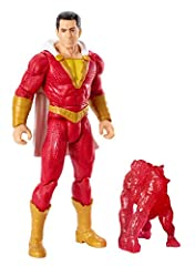 Recreate exciting movie adventures with this authentic Shazam! action figure! The highly detailed figure has actor likeness, an authentic golden and red costume with a cloth hooded cape, and an electric power-up accessory. Shout Shazam! becom...