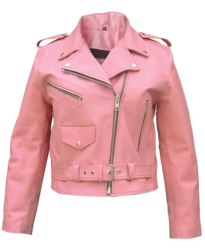 Ladies Pink Basic full cut Motorcycle Leather Jacket