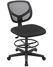 SONGMICS Mesh Office Chair, Drafting Stool Chair, Seat Height 56-75 cm, Standing Desk Chair with Adjustable Height Footrest, Ergonomic Painting Chair, Loading Capacity of 120 kg, Black OBN15BKUK