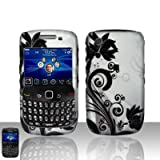 Silver Black Vine Flower Rubberized Snap on Design Hard Case Faceplate for Blackberry Curve 3g 9300 9330 8520 8530
