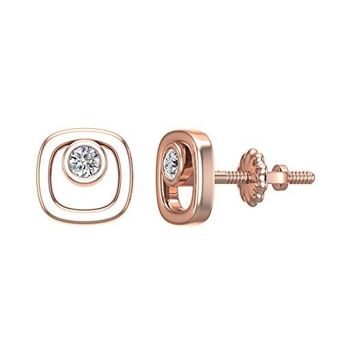Diamond Earrings Cushion Shape Studs 10K Rose Gold - Bezel Setting Screw Back Posts (0.10 carat total)