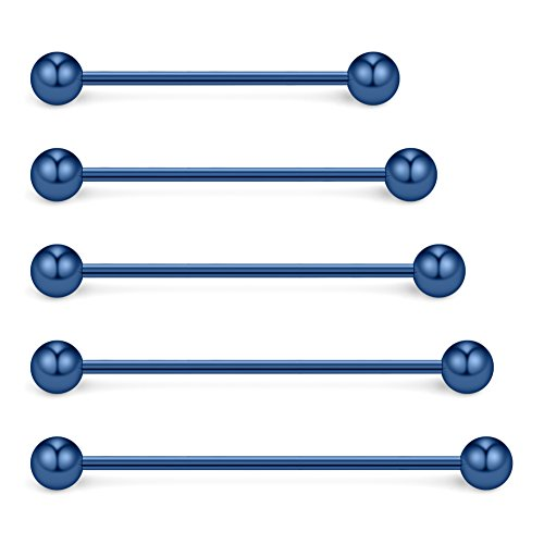 Mix Sizes Industrial Barbell Cartilage Earring Body Piercing Jewelry 28mm 32mm 35mm 38mm 40mm - Blue (Blue Industrial Barbell)