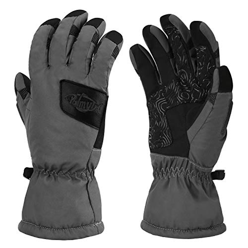 Palmyth Waterproof Ice Fishing Winter Gloves Warm for Cold Weather Men and Women 3M Thinsulate Windproof Insulated Thermal for Ski, Shovel Snow, Snowboard, Snowmobile, Touch Screen (Gray, Medium)