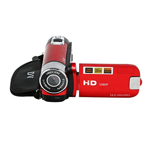 HP95 2.7' LCD Up to 16 Million Pixels Video Camcorder Handheld HD 1080P Digital Camera 32G 16X Digital Zoom (Red)