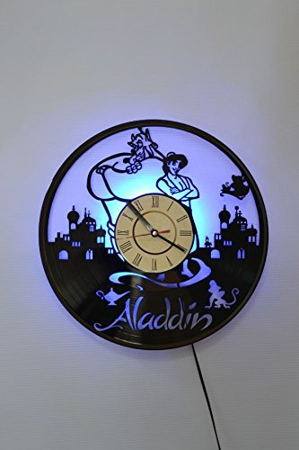 NICE STUFF ONLY Aladdin Wall Light Clock - Original Home Interior Décor - Wall Clock - Perfect Gift for Boys and Girls (Blue) (Aladdin And The King Of Thieves Part 2)