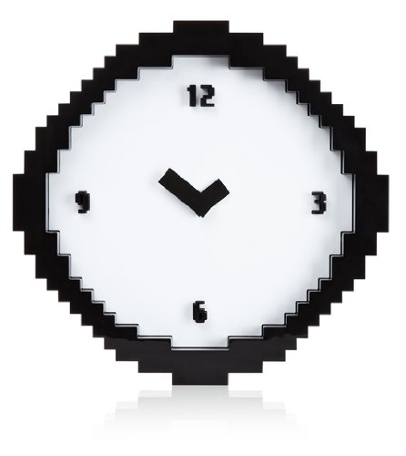 Wall Clock - Black White Pixel Time - Pixelated-look wall clock Features pixelated numbers and pointers Supplied with wall hanger - wall-clocks, living-room-decor, living-room - 41O9Hese5GL -
