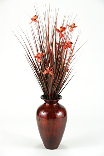 Spun Bamboo Vase (D & W Silks Brown Ting with Burgundy Blossoms in Burnt Copper Spun Bamboo Vase)