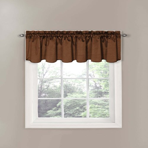 eclipse canova 42inch by 21inch thermaback blackout scallop valance chocolate - Valances For Living Room