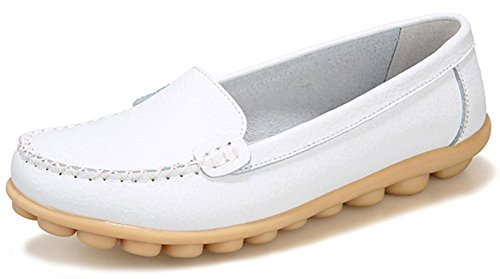 Summerwhisper Women's Comfy Driving Shoes Anti Skid Leather Slip-on Flats Loafers Boat Shoes White 8 B(M) US
