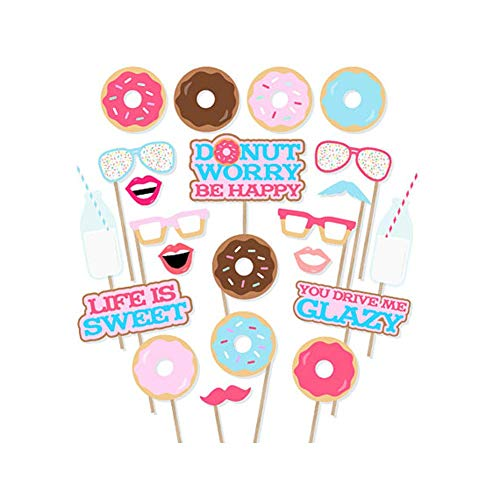 Donut Photo Booth Props 22 Pcs Doughnut Photobooth Props Donut Time Party Decorations Girl Doughnut Birthday Party Supplies for Donut Grown Up Party Birthday Party -