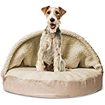 1 Piece Cream Orthopedic Large 35 Inches Snuggery Burrow Comfort Pet Bed, Off White Color Ortho Dog Foam Mattress Bedding Zippered Removable Cover Hood Flexible Hoop, Faux Sheepskin Durable Polyester