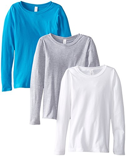 (Clementine Big Girls' Everyday Long Sleeve Tee Assorted 3 Pack, White/Grey/Turquoise,X-Large (14-16))