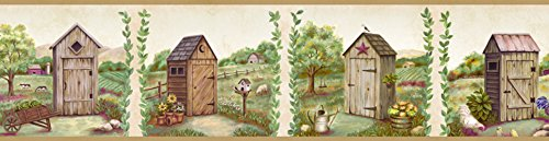 Outhouse Wallpaper Borders - Chesapeake PUR44551B Fredley Cream Country Meadow Outhouse Wallpaper Border