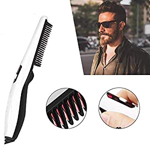 PAGALY Beard Straightener,Electric Beard Straightening Comb Quick Heated Multi Functional Styler Hair Curler…