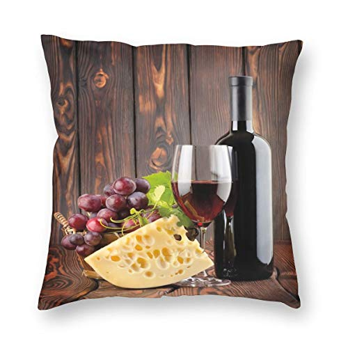 K0k2to Wine Throw Pillow Cushion Cover,Red Wine Cabernet Bottle and Glass Cheese and Grapes On Wood Planks Print,Decorative Square Accent Pillow Case ()