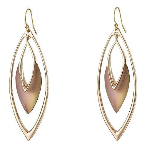 Alexis Bittar Rose Gold Opalescent Lucite Teardrop Orbit Earrings