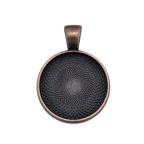 MAXENVISION 20mm Round Pendant Tray Blank Base Cabochon Base fit 20mm Round Cabochon Pack of 50 (Antique Copper)