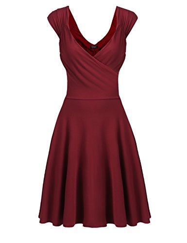 Hotouch Sleeveless Gorgeous Casual Loose Tunic Dress (Wine Red S) by Hotouch (Image #3)