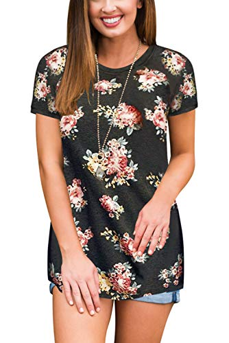 (Womens Floral Print Blouse Tops Short Sleeve Dark Grey L)