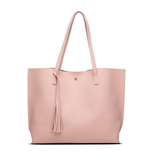 ANSAN Simple Design PU Leather Womens Shoulder Bags Top-Handle Tassel Handbag Tote Purse Bag Pink