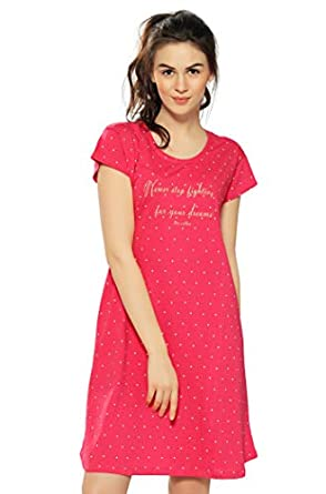 ZEYO Women's Cotton Print Knee Length Night Gown