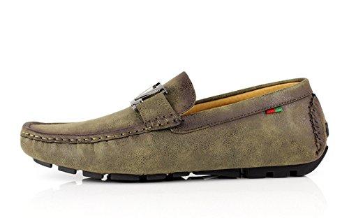 Britannique Kaki Décontracté 12 Conduite 6 À Mocassins Jas Chaussures Enfiler Taille Mode Hommes z7xqgg5wH