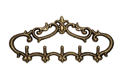(Comfify Cast Iron Wall Hanger - Vintage Design with 5 Hooks - Keys, Towels, etc - Wall Mounted, Metal, Heavy Duty, Rustic, Vintage, Decorative Gift Idea - 12.9X 6.1
