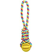 TAILMATE Dog Chew Toys with Natural Rubber Ball for Tug of War and Aggressive Chewers (Yellow1)