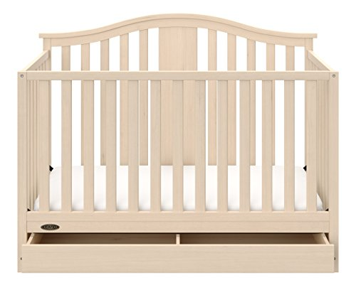 Graco Solano 4 in 1 Convertible Crib with Drawer, Whitewash, Easily Converts to Toddler Bed Day Bed or Full Bed, Three Position Adjustable Height Mattress, Assembly Required (Mattress Not Included)