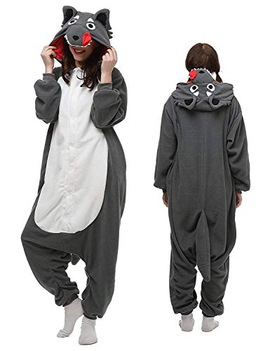 luyao188 Adult Wolf Pyjamas Halloween Costume One Piece Animal Cosplay Onesies S -