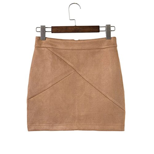 Jupe Femme Retro A-Line Mini Jupe Taille Haute Zipp Faux Cuir Mini Jupe Courte Daim Camel