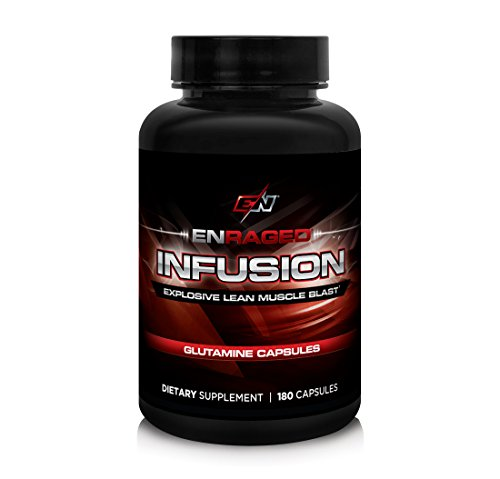 ENRAGED NUTRITION INFUSION Explosive Glutamine Blast: Advanced Amino Acid Formula For Muscle Recovery | Pharmaceutical-Grade Micronized Glutamine – No Fillers or Binders, 180 Capsules