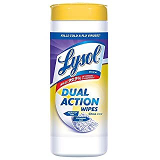 Lysol Dual Action Complete Clean, Disinfecting Wipes Citrus, 75-Count