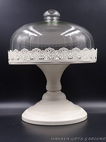 Traditional Style Decorative Cake Stand, Shabby Chic, IVORY CREAM Metallic Cake Stand 10.5 INCH ROUND