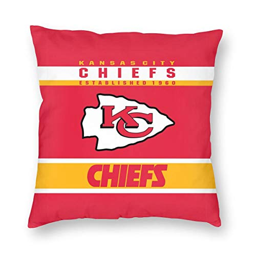 MamaTina Design Square Pillowcase Kansas City Chiefs Football Team Sofa Cushion Cover Soft Pillow Cover Invisible Zipper Pillow Case Protector for Bed 1 Pc - 26x26 Inch