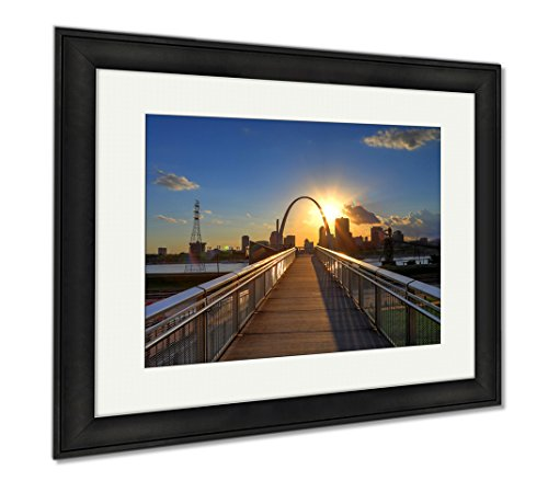 Ashley Framed Prints St Louis Missouri Skyline From Malcolm W Martin Memorial Park, Modern Room Accent Piece, Color, 34x40 (frame size), Black Frame, - Malcolm For Sale X Glasses