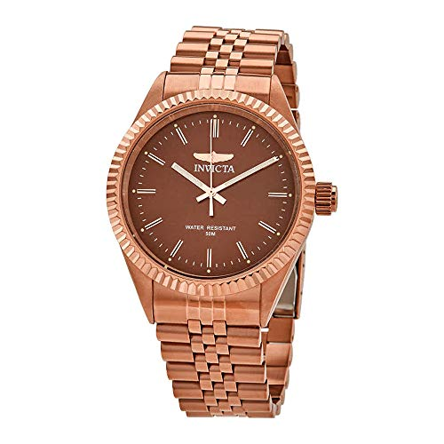 Invicta Men's Specialty Rose Gold-Tone Steel Bracelet & Case Quartz Brown Dial Analog Watch 29393