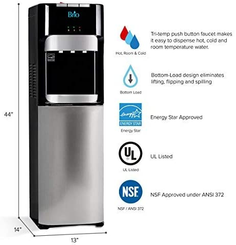 Brio Bottom Load Water Cooler Dispenser - Dimensions