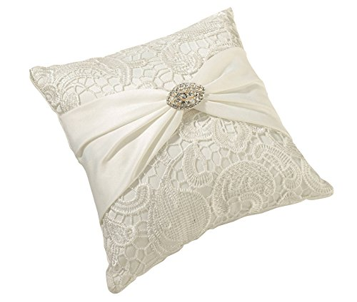 - Lillian Rose Cream Vintage Lace Wedding Ring Pillow