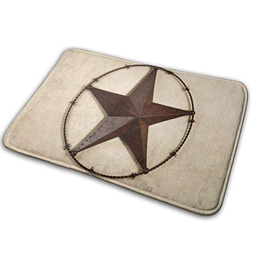 Feim-AO Rustic Texas Star Non Slip Machine-Washable Doormats Bathroom Kitchen Rug Front Door Mats 23.6(L) X 15.7(W) Inch