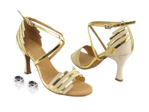 [Very Fine Dance Shoes] レディース B00FQ0PPQS Beige Nubuck & Gold Trim 7.5 B(M) US