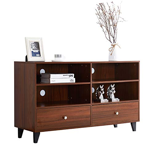 Rectangular Multi Server - soges Storage Cabinet Kitchen Sideboard Buffet Table Server Cabinet Cupboard with Drawers & Shelves Display Cabinet, Walnut HHGZ008-WN